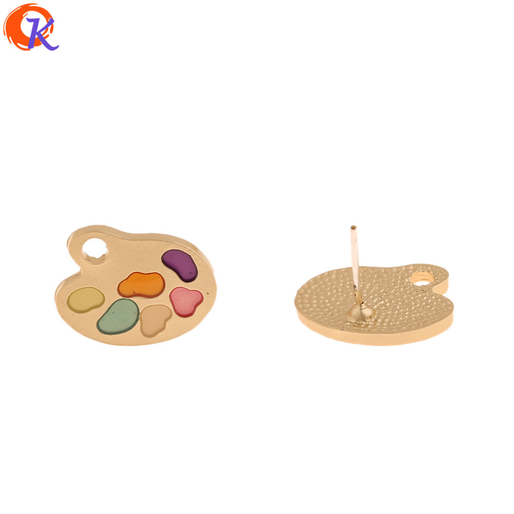 Cordial Design 50Pcs 14*18MM Jewelry Accessories/Earrings Stud/Matte Gold/Paint Effect/Hand Made/DIY Making/Earring Findings