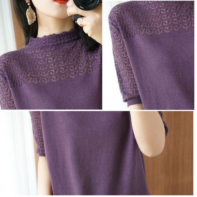 Summer Women knitted Short sleeve 2021 Thin Sweater Female Hollow out Lace Turtleneck Pullover Ladies knit Cotton Purple Jumpers 6