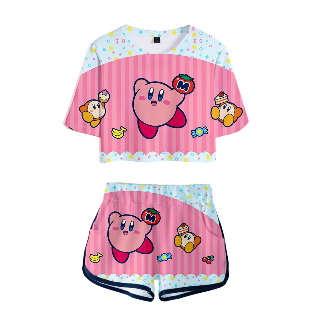 Fashion 3D Printed Kirby Two-Piece Sets Fashion Women Exposed Navel Girl's Short T Shirt +Short Pants 3D Kirby Two-piece Sets