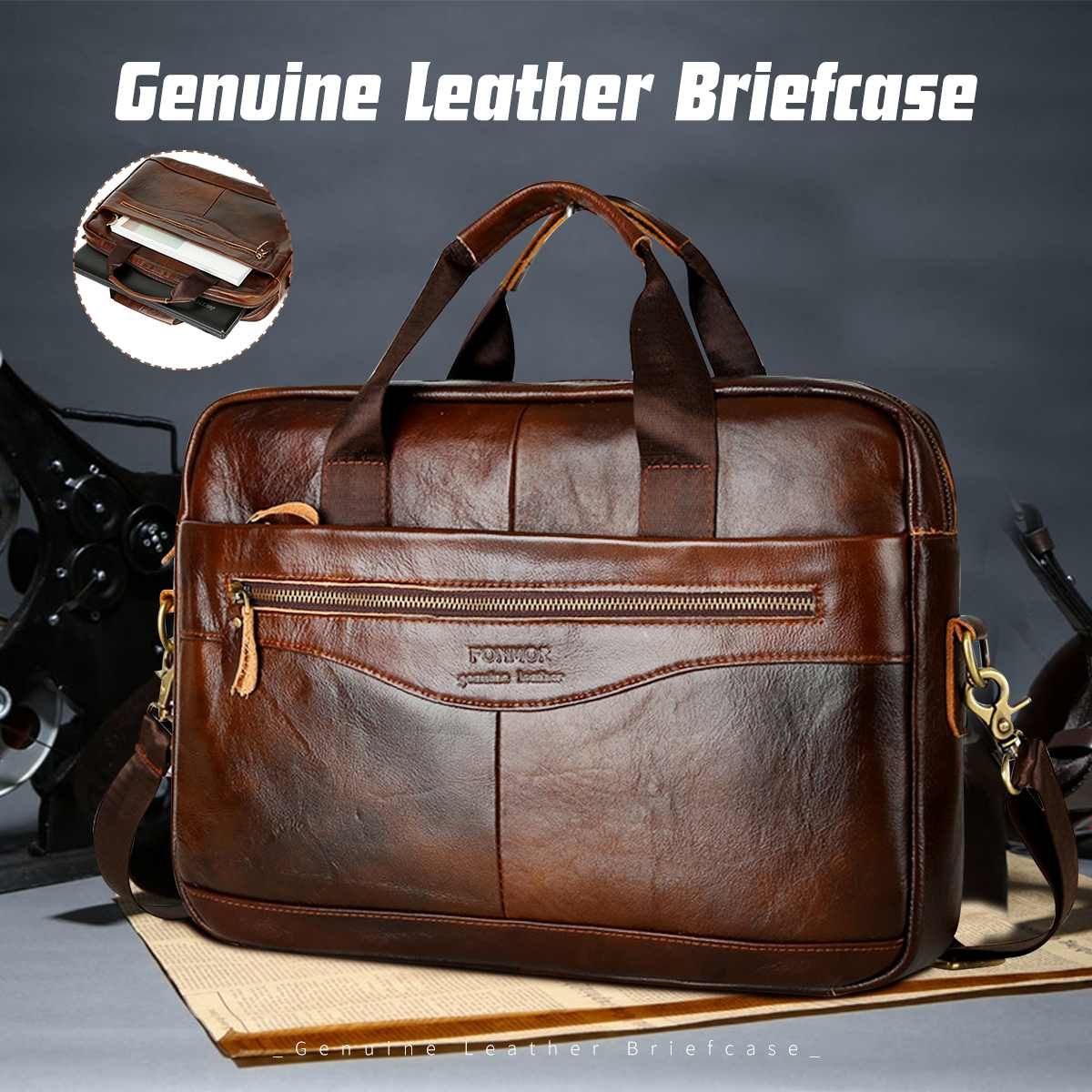 Messenger Bags Crossbody-Bags Laptop Leather Briefcase Business Cowhide Men's Genuine-Leather title=