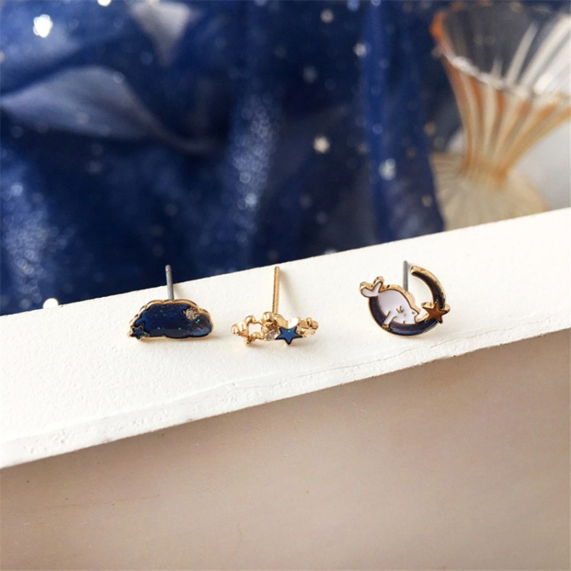 3 Pc Cartoon cute kitten stud Earrings fun small stars and moon clouds fresh and beautiful oil drop Party Girl's Jewelry