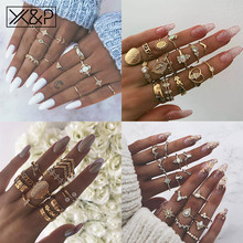 X&P Punk Women Bohemian Vintage Crown Wave Flower Heart Lotus Star Leaf Crystal Opal Joint Ring Party Jewelry Gold Rings Set 2018 new rings with 5 colors 14 mm shell pearl for women ladies wholesale jewelry flower lotus leaf fashion crystal large ring