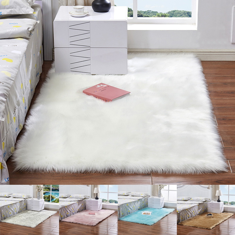 High Faux Wool Sofa Carpet Mat Whole Wool Cushion Living Room Bedroom Long Plush Blanket Baby Nursery Childrens Room Rug VE
