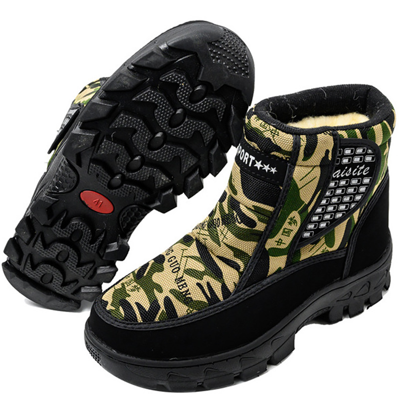 2019 New Camouflage Snow Boots Men Short Plush Warm Waterproof Combat Boots Non-slip Army Tactical Military Shoes Winter