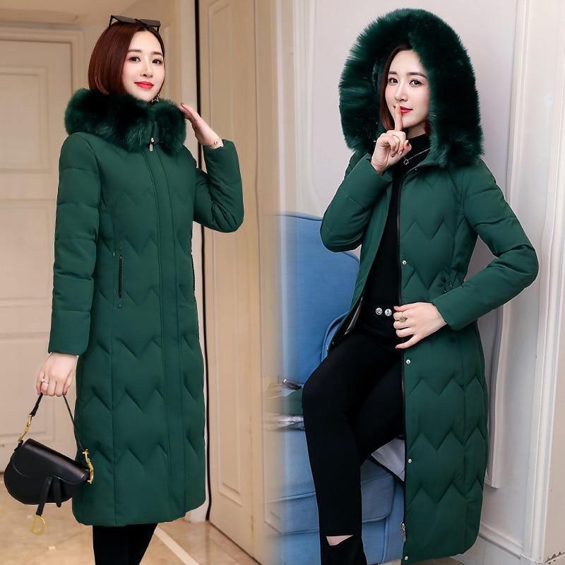 QIHUANG Winter Women Down Coat Hooded Fur Collar Thicken Down Cotton Jacket 2019 Winter Plus Size Slim Women Parkas