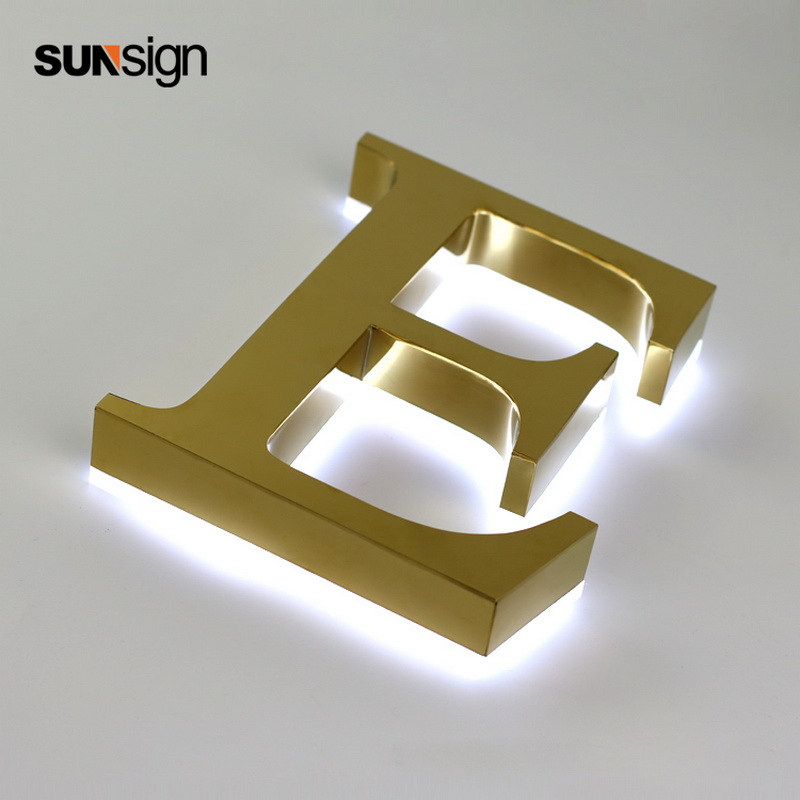 Golden Backlit Signs Stainless Steel Channel Letter With White Acrylic Back For Storefront Illuminated Signs