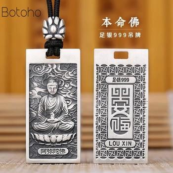 Colgante de plata de primera ley con diseño de Buda para mujer,...