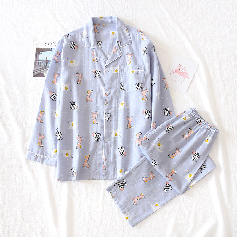Men's Pajamas Cotton Double Gauze Simple Loose Long Sleeve Trousers Homewear Clothes Cartoon Print Pijama Juvenil Masculino
