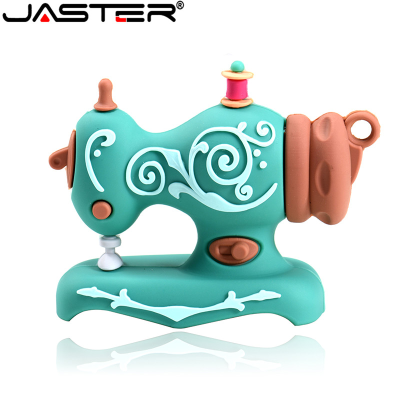 JASTER Cartoon USB Flash Drive Mini Sewing Machine Pen Drive Memory Stick 4GB 16G 32G 64G 128GB Waterproof U Disk Christmas Gift