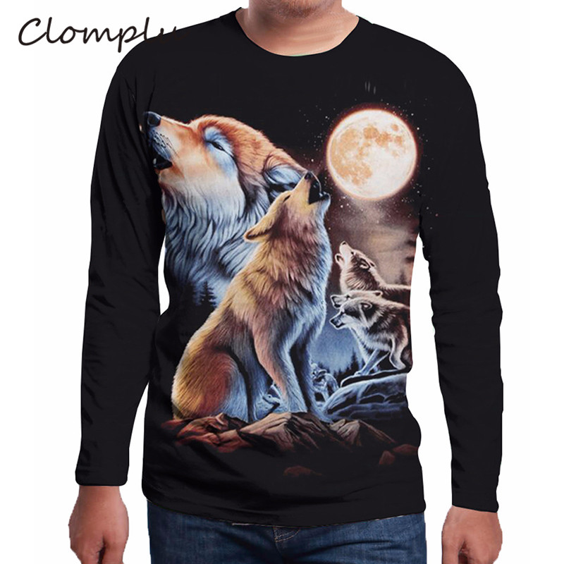 Clomplu T Shirt New Fashion Moon and Wolf Print 3D Tshirt Black Long Sleeve Tee Shirts <font><b>Men</b></font> <font><b>Plus</b></font> <font><b>Size</b></font> <font><b>6XL</b></font> <font><b>Clothing</b></font> image