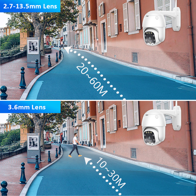 PTZ Speed Dome WIFI IP Camera 1080P 5MP Outdoor 5X Zoom Wireless Camera 8pcs Led IR 30m Two Way Audio CCTV Surveillance Camhiapp 6