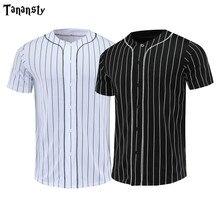 Shirts Basketball-Jersey New Men Short Button-Cardigan Hiphop Black Street-Stripe