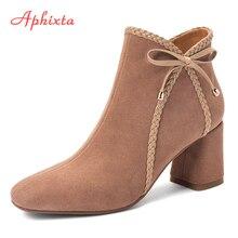 Aphixta  Bowknot Border Winter Boots Women Shoes High Ankle Round Toe Square Heels Flock Female Elegant