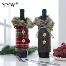 Knitted Creative Christmas Wine Cover Bottle Decor Set Kitchen Decoration For New Year Xmas Dinner Party Gift
