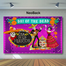 NeoBack Day of The Dead Backdrop Mexican Sugar Skull Photography Backdrops Dia DE Los Muertos Dress-up Party Photo Background