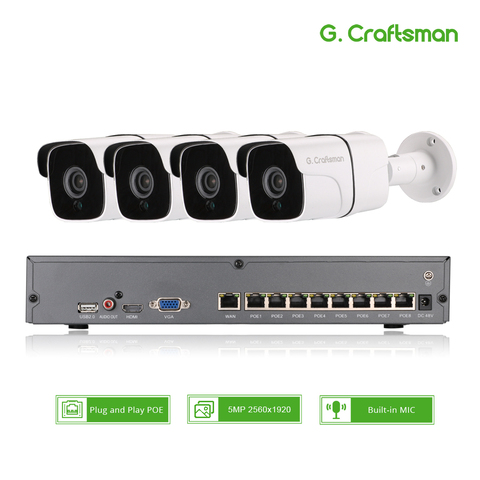 4ch 5mp audio poe kit h 265 sistema de seguranca cctv nvr camera ip impermeavel