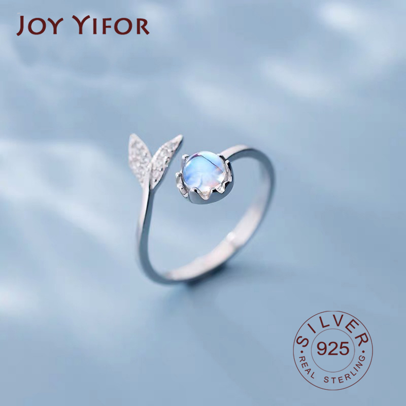 Real 925 Sterling Silver Cute Tail Moonstone Personality Adjustable Ring Fine Jewelry For Women Party Elegant Accessories
