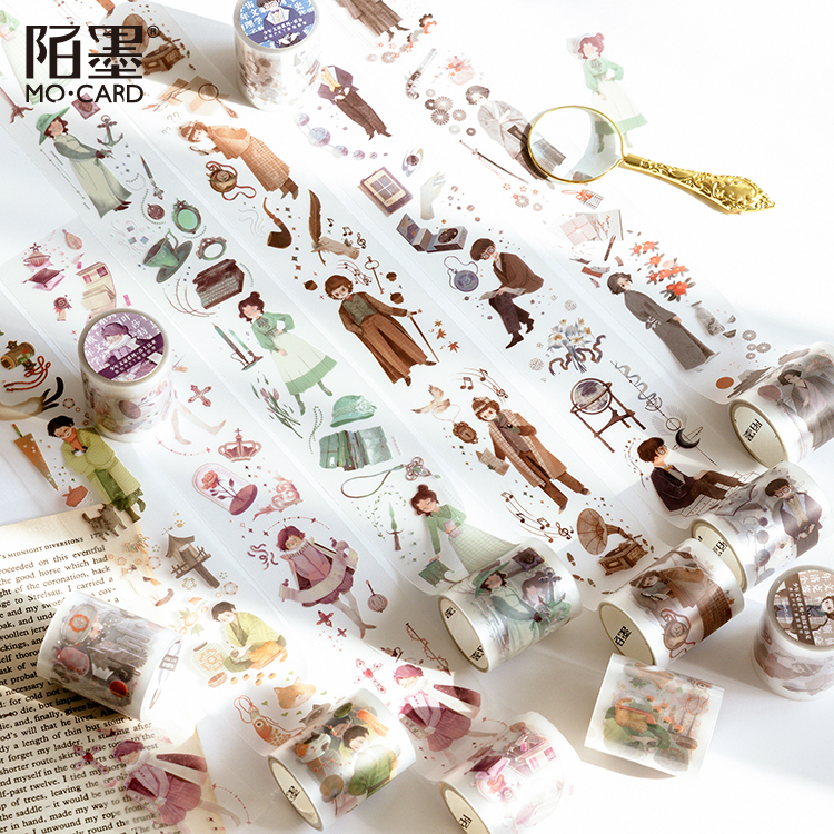 5cm Wide Juvenile Literary Giant Journal PET Washi Tape Decorative Shakespeare Adhesive Tape DIY Scrapbooking Sticker Label