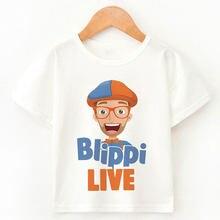 Blippi cartoon t-shirts 2021 novas roupas populares dos desenhos animados tshirt impressão para crianças com idade 1-9 verão menina de manga curta t topo