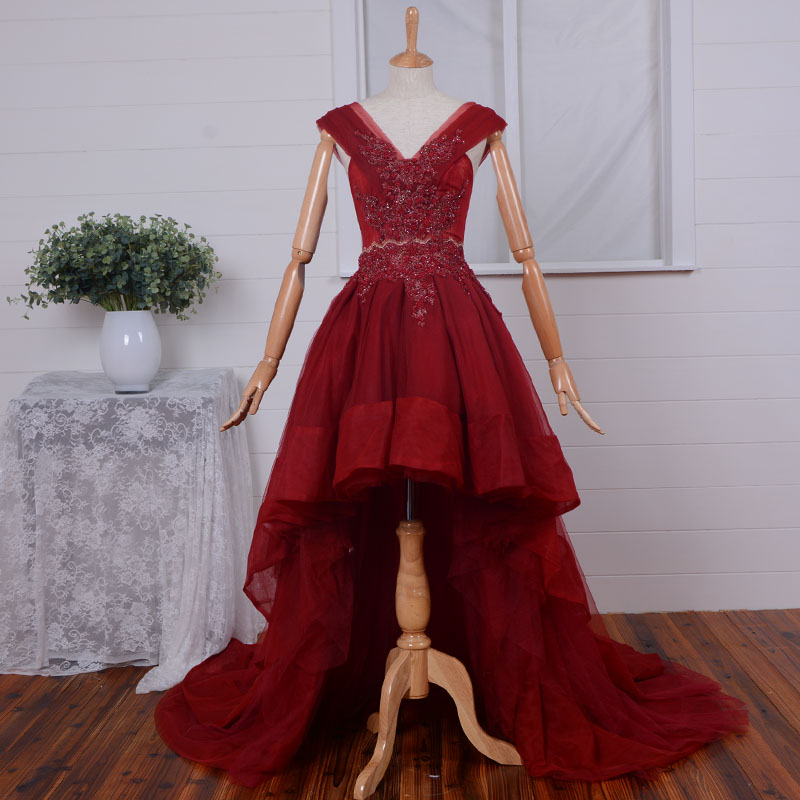 After Short Before Long V-neck Wine Red Prom Pearls Vestido De Festa Real Photos Evening Gown 2018 Mother Of The Bride Dresses