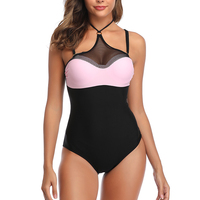High Neck One Piece Swimsuit Push Up Mesh Beach Bodysuit Swimwear Women One piece Swimsuits Black Women's Bathing Suits Female