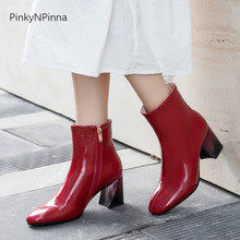 women winter fashion ankle boots warm plush inside soft patent leather office party dress short booties ladies high heel shoes sungtin fashion suede women ankle boots winter plush warm high heel short riding boots vintage embroidery ladies booties shoes