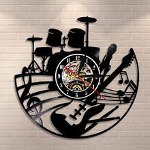Gitaar En Drum Kits Wandklok Gitaar Speler Muziek Vinyl Record Klok Rock Muziek Instrument Gitaar Muur Art Rock N rock Gift