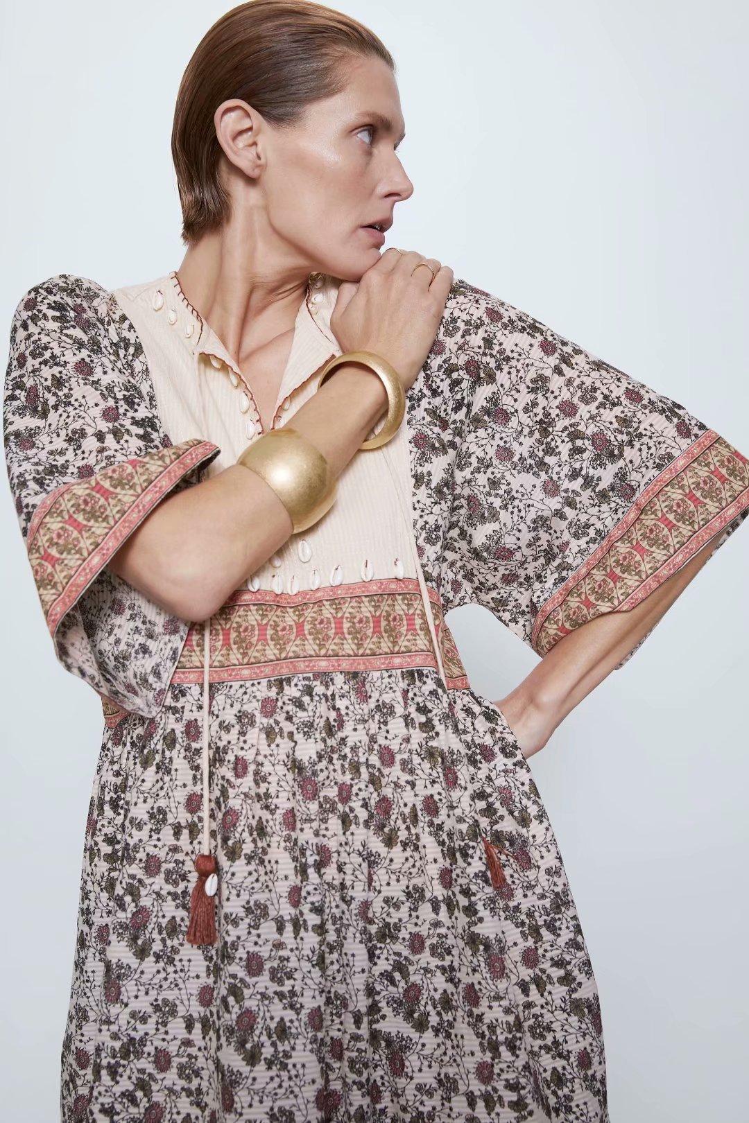 2020 New Spring Summer European Streetwear Midi Floral Printed Female Dress Zaraing Vadiming Sheining Women Dress O9586