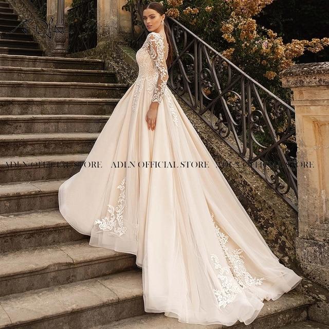Gorgeous Lace Wedding Dress with Long Sleeves Sheer Neck Appliqued Champagne Bridal Gown Princess Vestido de Novia 2