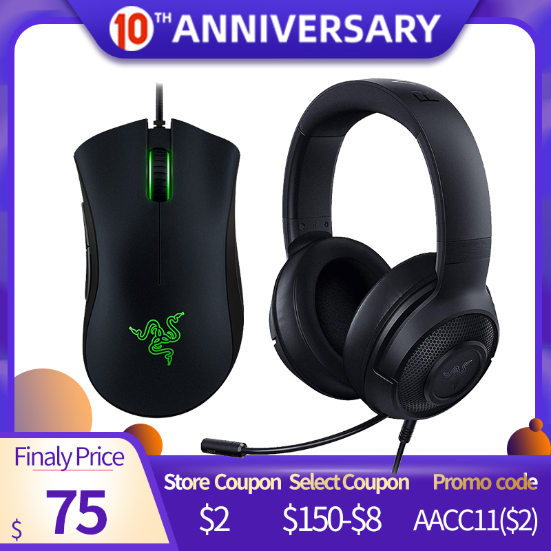 Razer Kraken X Ultralight Headphone Noise Over-Ear Wired Gaming Headset Analog 3.5 Mm Jack 7.1 Surround Sound With Mic, Xbox,PS4