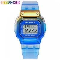 SYNOKE สีสัน Unisex ผู้หญิงผู้ชายนาฬิกาแฟชั่น Lady Lady นาฬิกา Creative Shock LED นาฬิกาปลุกสาว GIF-ใน นาฬิกาข้อมือสตรี จาก นาฬิกาข้อมือ บน