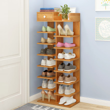 Wooden Shoe Rack Space-saving Multiple Layers Storage Shelf Doorway Simple Economical Shoe Cabinet with Drawer for Shoe Key