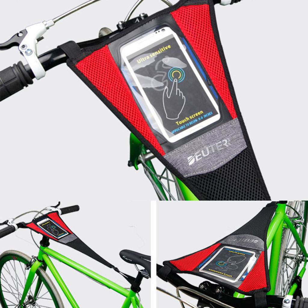 Indoor Bike Trainer Frame Sweat Cover Guard Net Catcher Absorbs Sweat Strap With Phone Holder Black Red