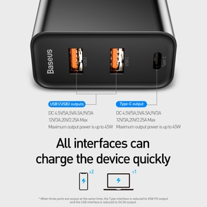 Image 2 - Baseus 60W Usb ładowarka USB typu C szybka ładowarka Dual Band gniazda Usb i usa Adapter do ładowania telefonu podróży ładowarka ścienna z 1M