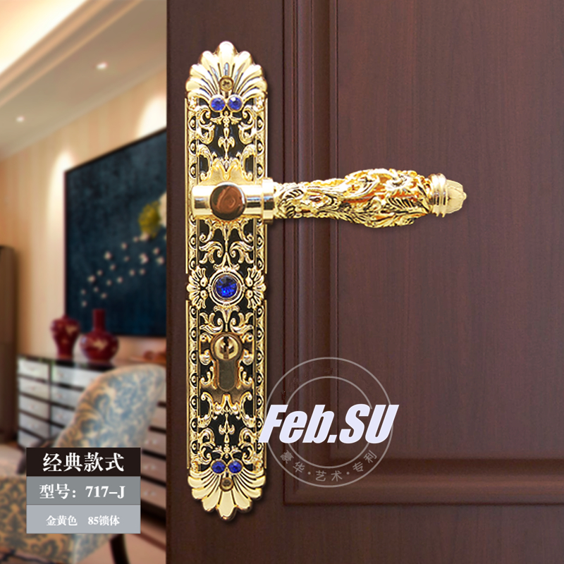 GOLD PLATED ITALY DESIGN DOOR HANDLE LOCK
