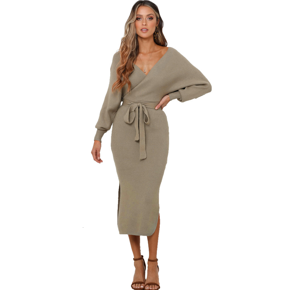 Image 4 - VOZRO Suit dress Bat Sleeve Solid Color Sweater Knitting Sexy Winter Maxi Party Long Dress Women Vestido Dresses Clothes Vintage-in Dresses from Women's Clothing