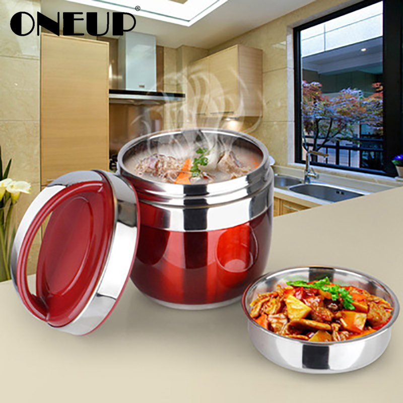 ONEUP Portable Stainless Steel Insulated Lunch Box Double-deck Bento Box Japanese 2-layer Insulated Bucket Soup Food Container