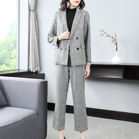Women's suit new suit collar houndstooth small suit top + straight pants suit double breasted casual formal women's suit set