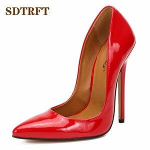 Image 3 - SDTRFT الفم الضحلة الخناجر الأحمر براءات أحذية من الجلد امرأة أشار تو 15 سنتيمتر رقيقة عالية الكعب مضخات الزفاف كروسدرسر Mujer