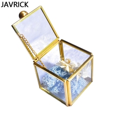Geometrical Clear Glass Jewelry Box Jewelry Organize Holder Plants Container Women  Brass Metal Frame Display Case