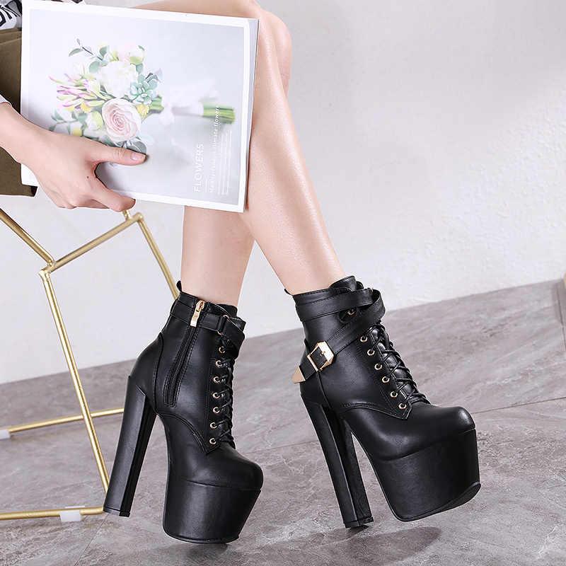 Sexy 16cm wysokie buty na obcasie damskie jesienne platformy zasznurować zapięcie na zamek błyskawiczny czerwone buty mody