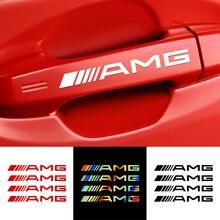 4 Uds mango de la puerta de coche reflectante decoración pegatina insignia AMG etiqueta para Mercedes Benz C180 C200 C260 C300 W108 W124 W126 W140 W168