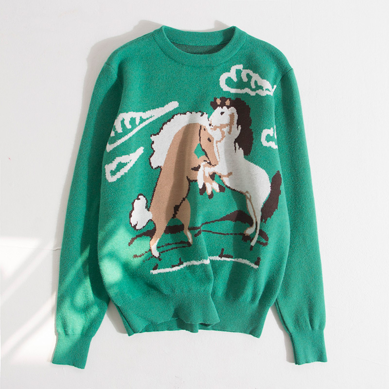 High Quality Runway Designer Cat Print Knitted Sweaters Pullovers Women Autumn Winter Long Sleeve Harajuku Sweet Jumper C-192 9