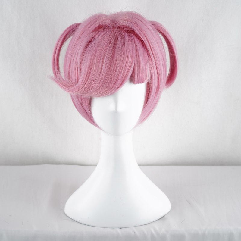 Game DDLC Doki Doki Literature Club Natsuki Wig Pink Short Wig Heat Resistant Synthetic Hair Cosplay Costume Wigs + Wig Cap