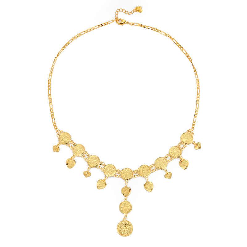 אופנתי טאסל סגנון עתיק מטבע שרשרות שרשראות למזרח התיכון ערבי נשים זהב מטבע תכשיטי מתנה