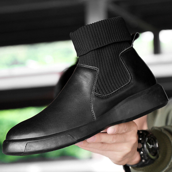 Fashion Men's Chelsea wedding Boots Male Ankle Shoes Genuine Leather Men Boots Party Wedding Casual Flats shoes Big size 38-46