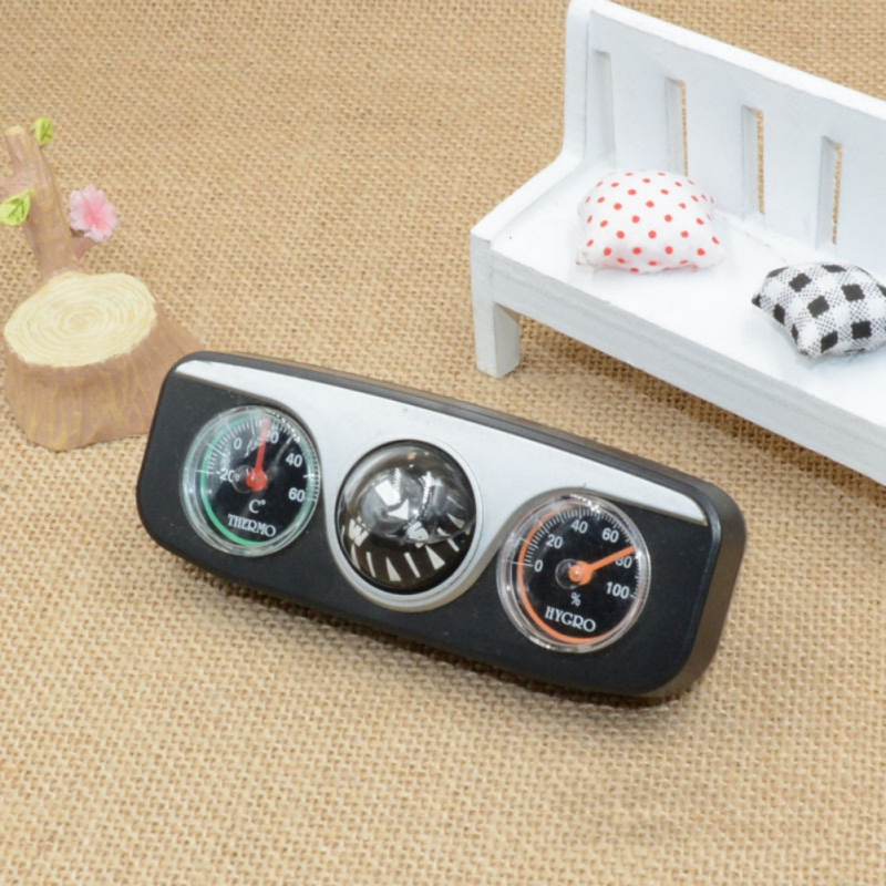 3 In 1 Guide Ball Car Compass Thermometer Hygrometer Car Ornaments Auto Boat Vehicles Interior Accessories