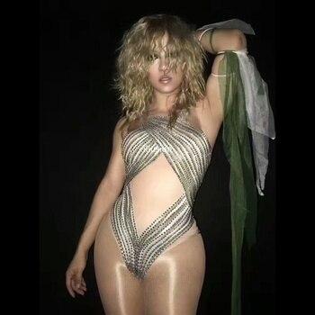 Sparkly Rhinestone Nude Bodysuit Women Performance Outfits Costume Party Celebrate Glisten Rhinestone Stretch Leotard Stage Wear