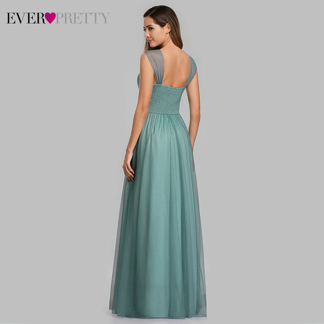 Spakle Prom Dresses Long Ever Pretty A-Line V-Neck Ruched Elegant Cheap Tulle Evening Party Gowns Vestidos Largos Fiesta 2020 3