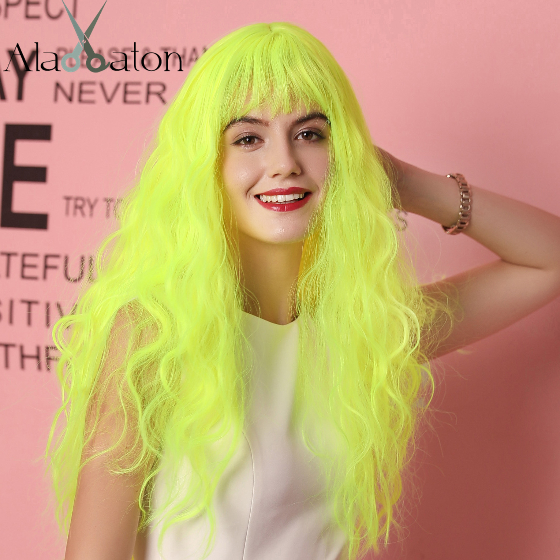 ALAN EATON Fluorescent Green Long Wavy Wig with Bangs Heat Resistant Fiber Hair Cosplay Synthetic Wigs for Black Women Afro